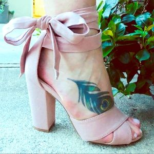 Beautiful Pink Suede Ankle-Wrap Sandals | 7 | New
